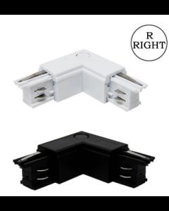 L-Coupler rail triphasé noir / blanc droit