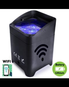 Projecteur LED RGBWA + UV pour événements ou spectacles avec batterie et contrôlable avec WiFi